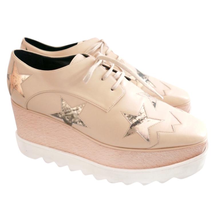 e0ea5b571cb1 Stella McCartney Elyse Mirror Star   Camel Platform Derby Shoes