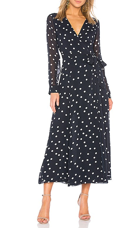 Ganni Navy Polka Dot Marceau Georgette Maxi Dress