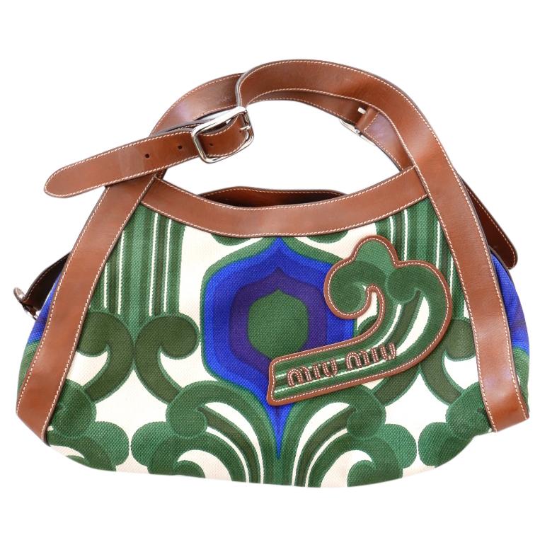 64f68f9bcf09 Miu Miu Ss05 Collectors Green Blue Retro Canvas Leather Logo Tote ...