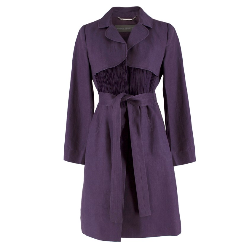 Alberta Ferretti vintage purple belted silk jacket