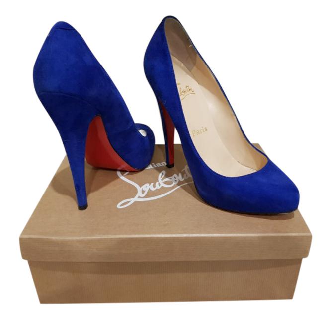meilleur site web 52ee8 d0d5c Christian Louboutin blue suede declic pumps