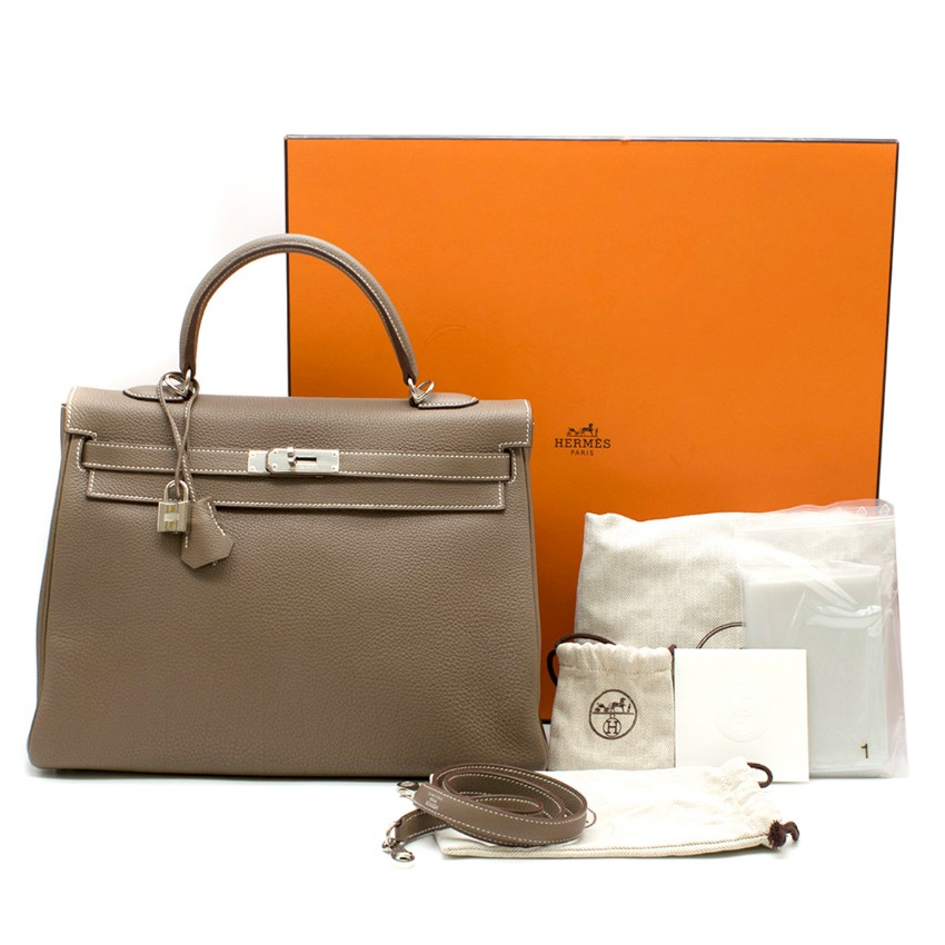 a39db2b50d Hermes Kelly 35cm Etoupe Togo Leather Bag 2
