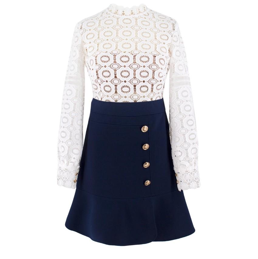 Self-Portrait contrast-skirt lace dress