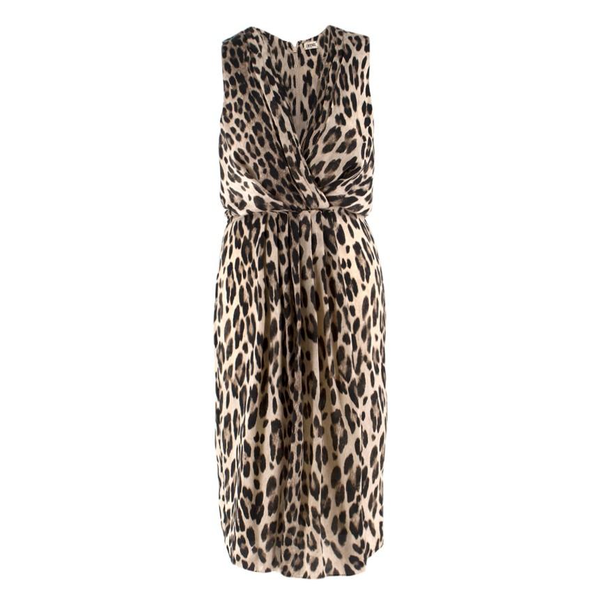 L'AGENCE leopard-print sleeveless satin dress