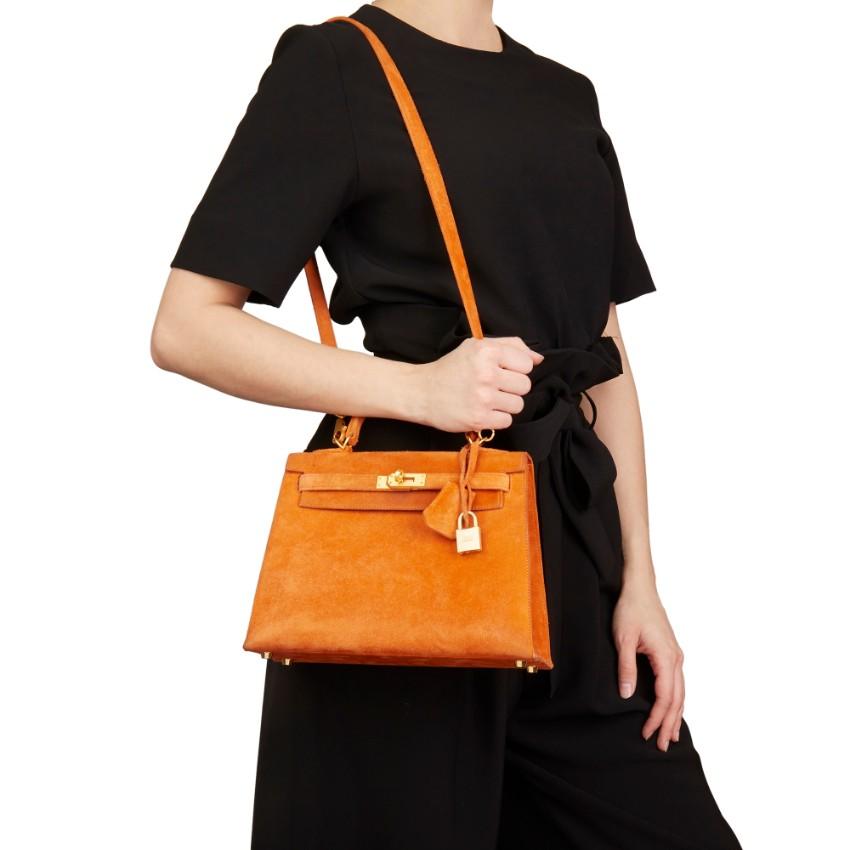 b846af06dfc7 Hermes Orange H Veau Doblis Kelly 25cm Sellier