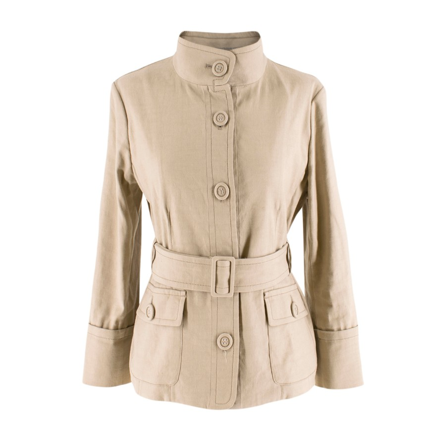 S'Max Mara beige belted linen and cotton-blend jacket