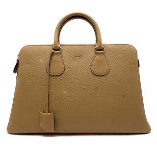 Bally camel-brown hammered-leather tote bag