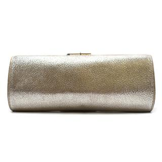 Jimmy Choo Metallic Silver Tube Clutch