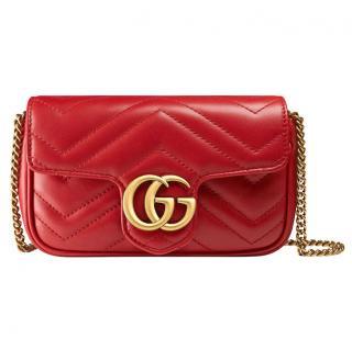Gucci marmont red matelasse mini shoulder bag