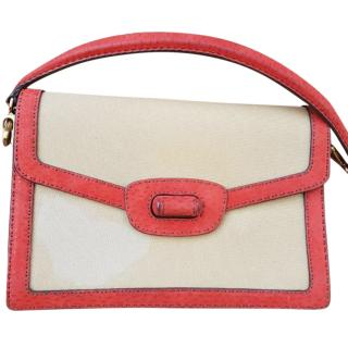 Prada Canopy Canvas And Red Ostrich Leather Shoulder Bag