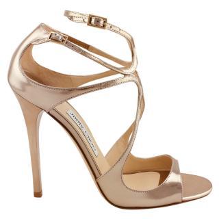 Jimmy Choo Lance Gold Liquid Mirror Leather Sandals