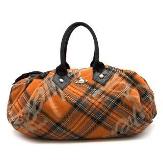 Vivienne Westwood orange-tartan top-handle bag