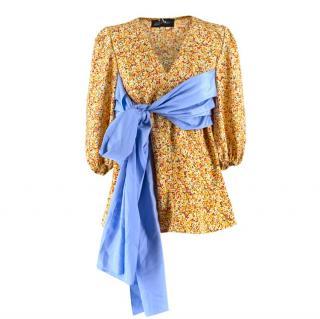 Anna October wrap-waist silk-twill top