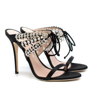 Guiseppe Zanotti Madelyn crystal-embellished satin mules