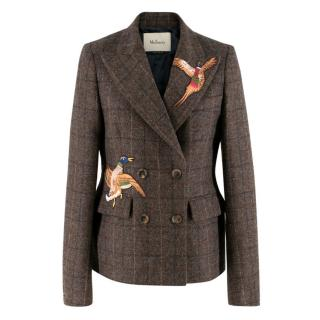 Mulberry game-applique double-breasted wool-tweed jacket