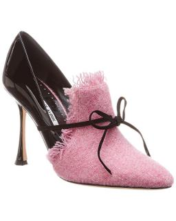 Manolo Blahnik Pink Armida 105 Tweed & Patent Pump