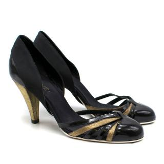 Chanel multi-strap patent leather pumps