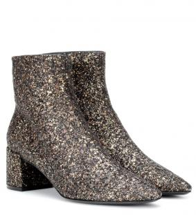 Saint Laurent Loulou 50 glitter ankle boots in black and gold