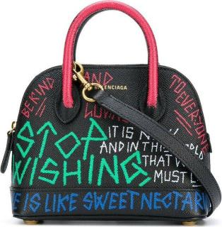 Balenciaga Ville Graffiti Top Handle Bowling Bag