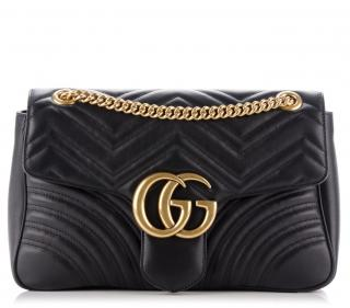 Gucci Black Matelasse Medium Marmont Bag
