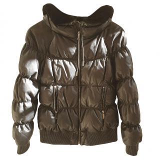 Lacroix leather down jacket w/ Rabbit fur collar