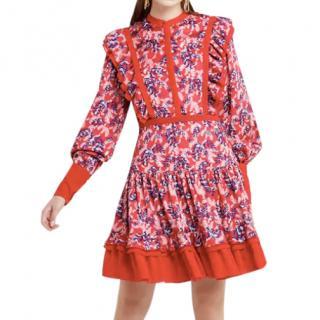 Three Floor Scarlett ruffle-trimmed satin dress