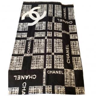 Chanel Monochrome Silk & Cashmere Scarf
