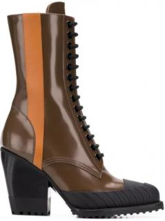Chloe Rylee medium leather lace-up ankle brown boots