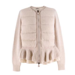 Moncler beige flared hem knitted cardigan