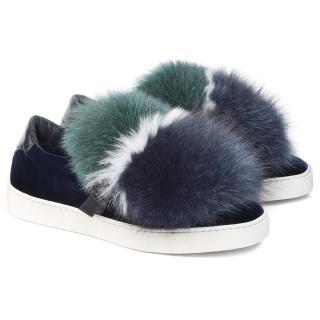 Santoni Velvet Mink Fur Sneakers