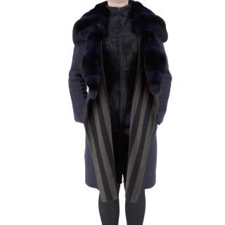Fendi Chinchilla & Astrakhan Double Faced Navy Cashmere Coat