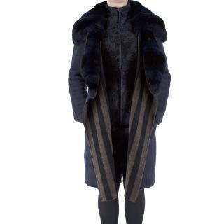 Fendi Chinchilla & Astrakhan Double Faced Navy Cashmere Coat