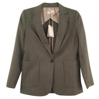 Anine Bing grey pinstriped blazer