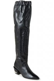 Toga Pulla pointed knee-length black boots