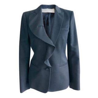 Valentino Navy Ruffled Wool Blazer