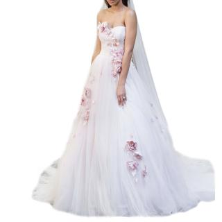 Justin Alexander Signature Blush Cascading Silk Flowers Wedding Dress