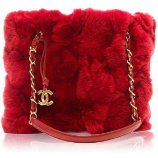Chanel Limited Edition Red Rabbit Fur Handbag