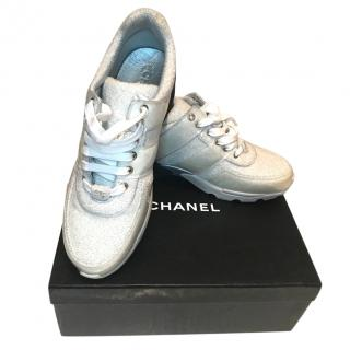 Chanel 17S Silver Terry Cloth CC Lace-Up Trainers