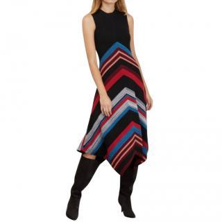 Proenza Schouler chevron stripe wool and silk dress