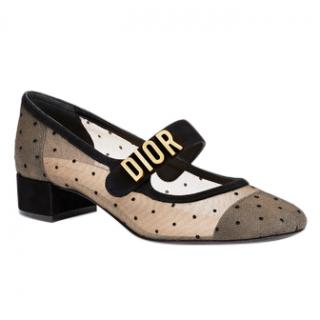 DIOR Black Dotted Swiss Baby D Ballet Pump