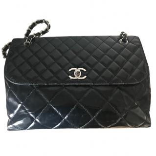 Chanel black patent jumbo bag