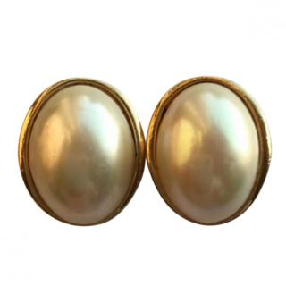 Christian Dior Vintage Pearl & Gold Earrings