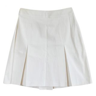 Burberry White Pleated A-line Skirt