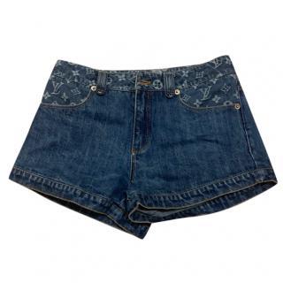 Louis Vuitton denim mongram mini shorts