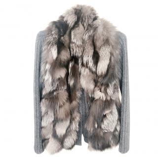 Miu Miu Grey Thick Wool Cardigan Fox Fur Vest