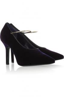 Givenchy Purple Velvet Pumps W/ Gold Bracelet Strap
