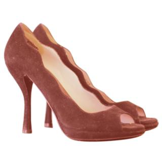 Prada Suede Scalloped Peep Toe Pumps