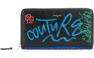 Balenciaga Bazar Graffiti Printed Textured-Leather Wallet