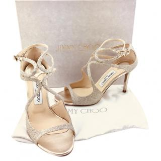 Jimmy Choo Ivette Glitter Leather Strappy Sandals
