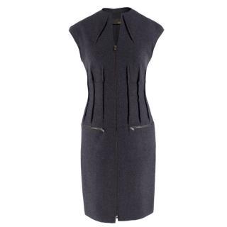 Fendi grey zip-through sleeveless wool dress